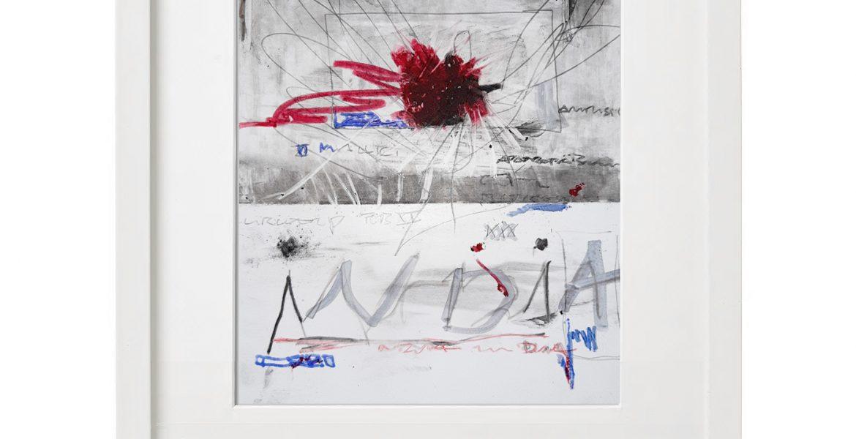 Unikatgrafik H/18, 2020, 30x40cm, Holzrahmen (Weißlack), Glas, Passepartous