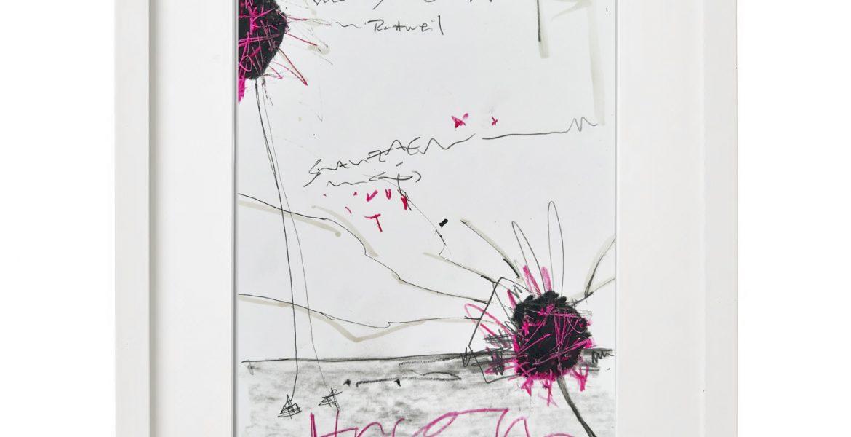 Unikatgrafik H/16, 2020, 30x40cm, Holzrahmen (Weißlack), Glas, Passepartous