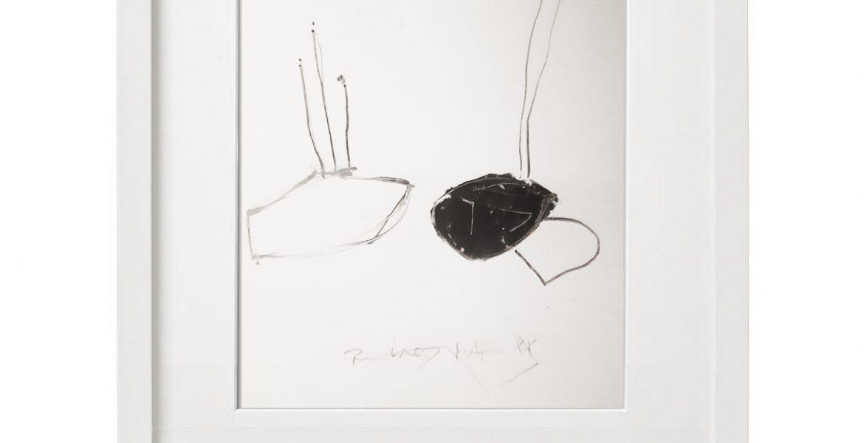 Unikatgrafik H/14, 2020, 30x40cm, Holzrahmen (Weißlack), Glas, Passepartous
