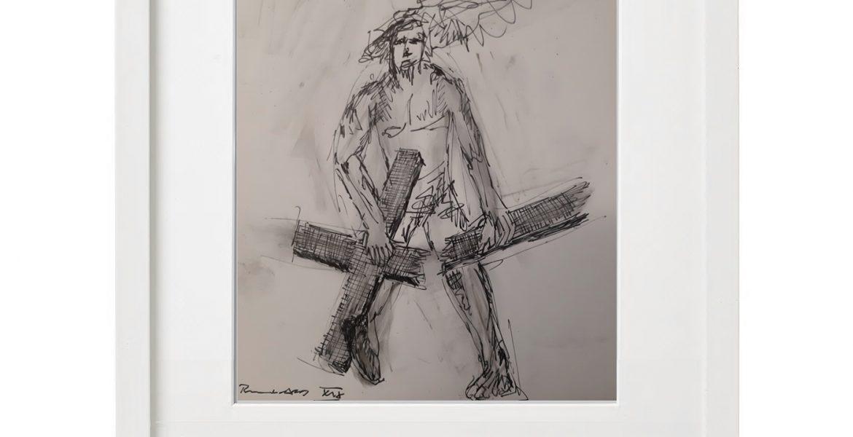 """Unikat-Zeichnung """"Dem Heiland reicht's"""", 30x40cm, Holzrahmen  (weiß Lack), Glas, Passepartous"""