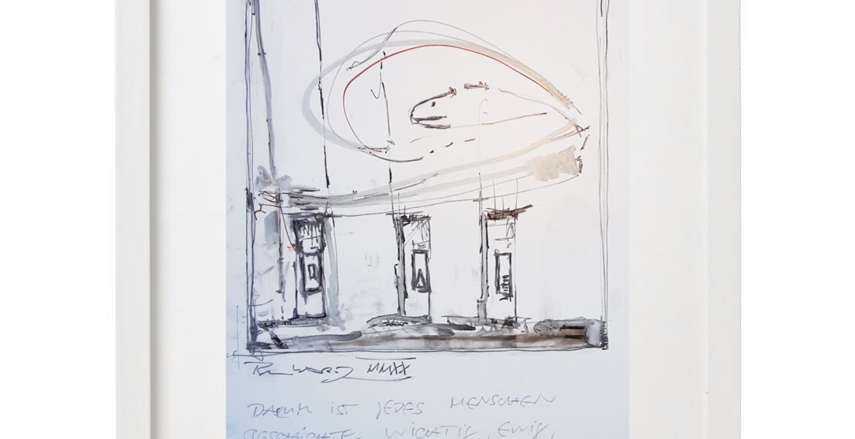 Unikatgrafik H/01, 2020, 30x40cm, Holzrahmen (Weißlack), Glas, Passepartous