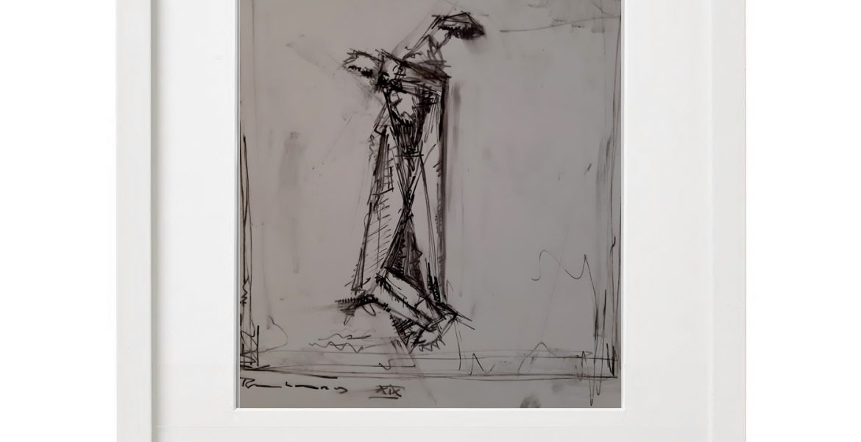 """Unikat-Zeichnung """"Tänzer"""", 30x40cm, Holzrahmen  (weiß Lack), Glas, Passepartous"""