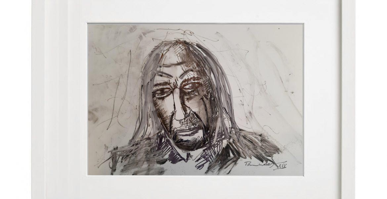 """Unikat-Zeichnung """"Portrait Peter Weißhaar"""", 30x40cm, Holzrahmen (weiß Lack), Glas, Passepartous"""