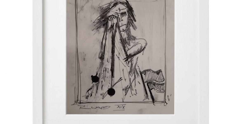 """Unikat-Zeichnung """"Klagende"""", 30x40cm, Holzrahmen  (weiß Lack), Glas, Passepartous"""