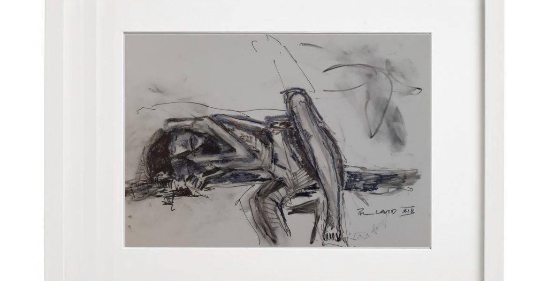 """Unikat-Zeichnung """"Liegende"""", 30x40cm, Holzrahmen  (weiß Lack), Glas, Passepartous"""