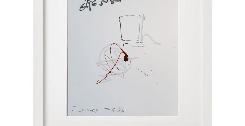 Unikatgrafik H/27, 2020, 30x40cm, Holzrahmen (Weißlack), Glas, Passepartous