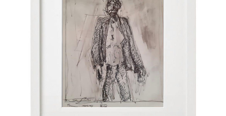 """Unikat-Zeichnung """"Der Zweifler"""", 30x40cm, Holzrahmen  (weiß Lack), Glas, Passepartous"""