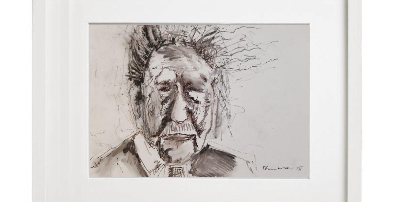 """Unikat-Zeichnung """"Alter Schwabe"""", 30x40cm, Holzrahmen  (weiß Lack), Glas, Passepartous"""