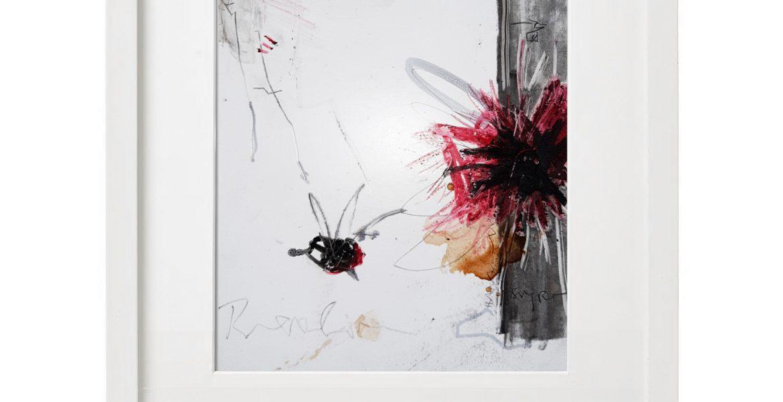 Unikatgrafik H/26, 2020, 30x40cm, Holzrahmen (Weißlack), Glas, Passepartous
