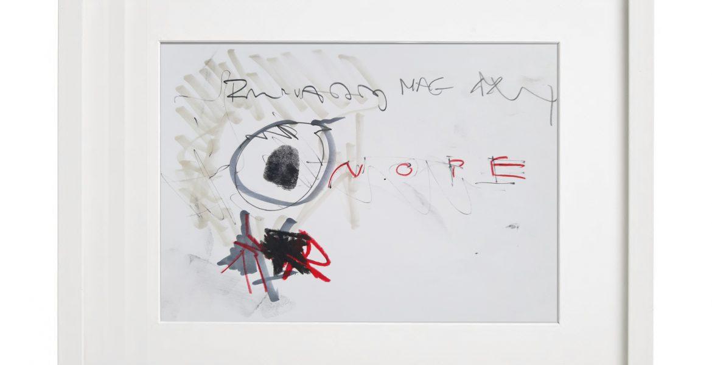 Unikatgrafik H/38, 2020, 30x40cm, Holzrahmen (Weißlack), Glas, Passepartous