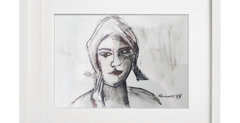 """Unikat-Zeichnung """"Pause bei der Weinlese"""", 30x40cm, Holzrahmen  (weiß Lack), Glas, Passepartous"""