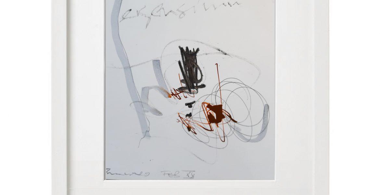 Unikatgrafik H/25, 2020, 30x40cm, Holzrahmen (Weißlack), Glas, Passepartous