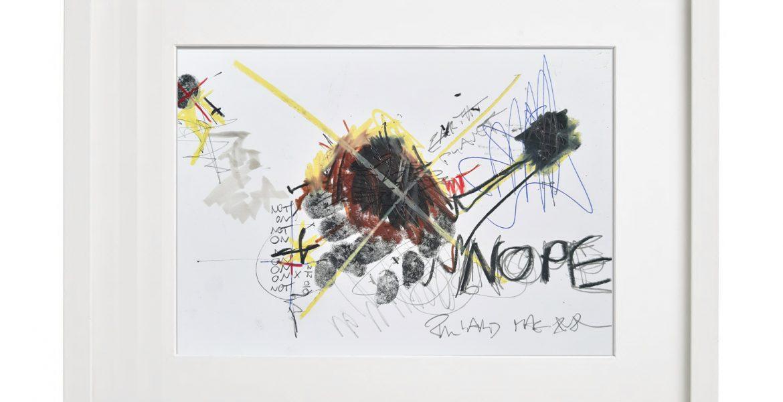 Unikatgrafik H/37, 2020, 30x40cm, Holzrahmen (Weißlack), Glas, Passepartous