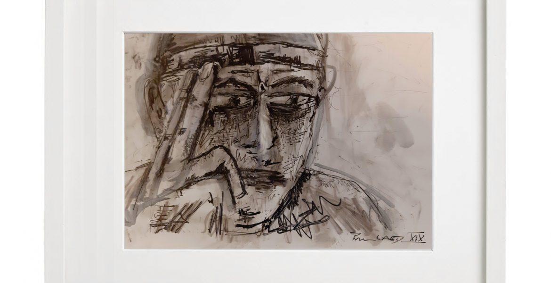 """Unikat-Zeichnung """"Selbstportrait/F. Burkard"""", 30x40cm, Holzrahmen  (weiß Lack), Glas, Passepartous"""