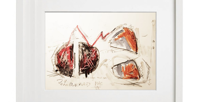 Unikatgrafik H/36, 2020, 30x40cm, Holzrahmen (Weißlack), Glas, Passepartous
