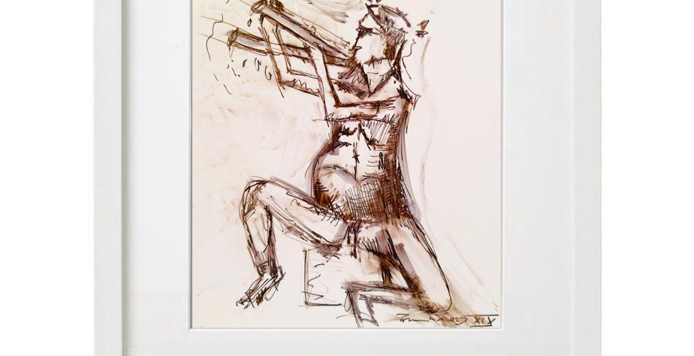 """Unikat-Zeichnung """"Sitzender Schwätzer"""", 30x40cm, Holzrahmen  (weiß Lack), Glas, Passepartous"""