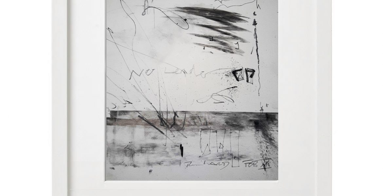 Unikatgrafik H/23, 2020, 30x40cm, Holzrahmen (Weißlack), Glas, Passepartous