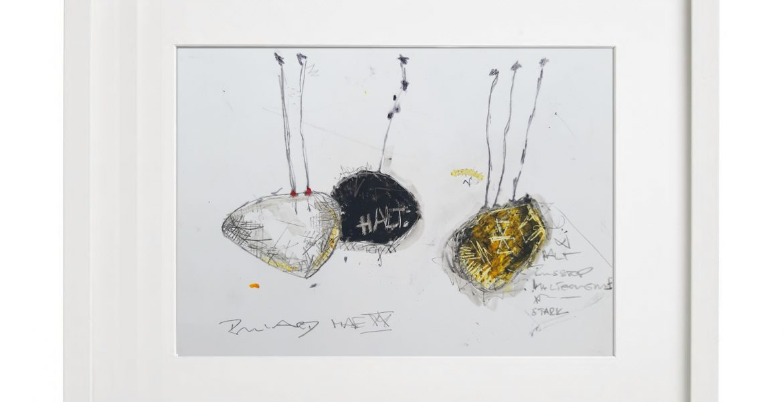 Unikatgrafik H/35, 2020, 30x40cm, Holzrahmen (Weißlack), Glas, Passepartous