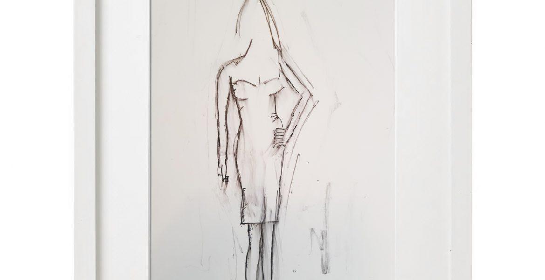 """Unikat-Zeichnung """"Psychiaterin im Nervenkostüm"""", 30x40cm, Holzrahmen  (weiß Lack), Glas, Passepartous"""