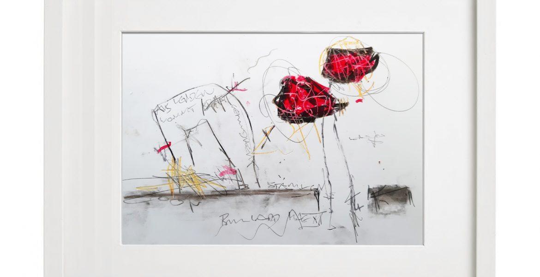 Unikatgrafik H/34, 2020, 30x40cm, Holzrahmen (Weißlack), Glas, Passepartous